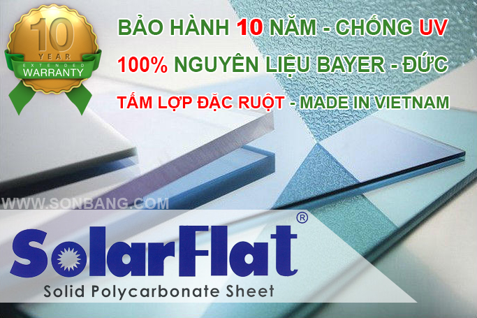 tấm lợp lấy sáng đặc ruột solarflat